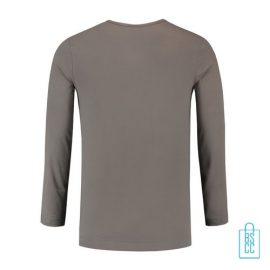 Longsleeve Heren Shirt bedrukt grijs, longsleeve bedrukt, bedrukte longsleeve met logo