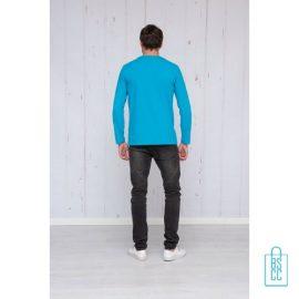 Longsleeve Heren Shirt bedrukt lichtblauw, longsleeve bedrukt, bedrukte longsleeve met logo