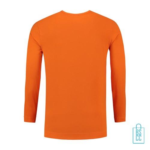 Longsleeve Heren Shirt bedrukt oranje, longsleeve bedrukt, bedrukte longsleeve met logo