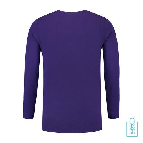 Longsleeve Heren Shirt bedrukt paars, longsleeve bedrukt, bedrukte longsleeve met logo