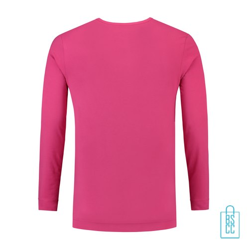 Longsleeve Heren Shirt bedrukt roze, longsleeve bedrukt, bedrukte longsleeve met logo