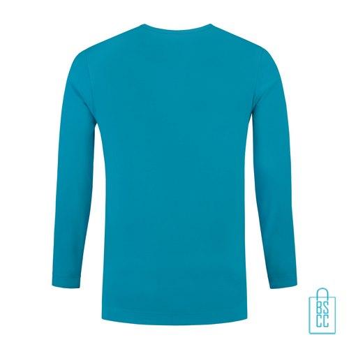 Longsleeve Heren Shirt bedrukt turkoise, longsleeve bedrukt, bedrukte longsleeve met logo