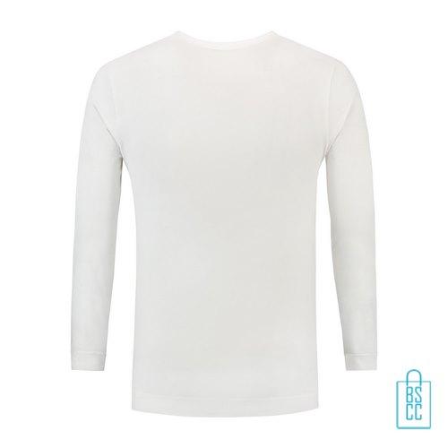 Longsleeve Heren Shirt bedrukt wit, longsleeve bedrukt, bedrukte longsleeve met logo