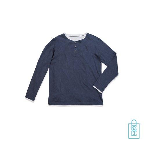 Longsleeve Heren Trendy bedrukken blauw, longsleeve bedrukt, bedrukte longsleeve met logo