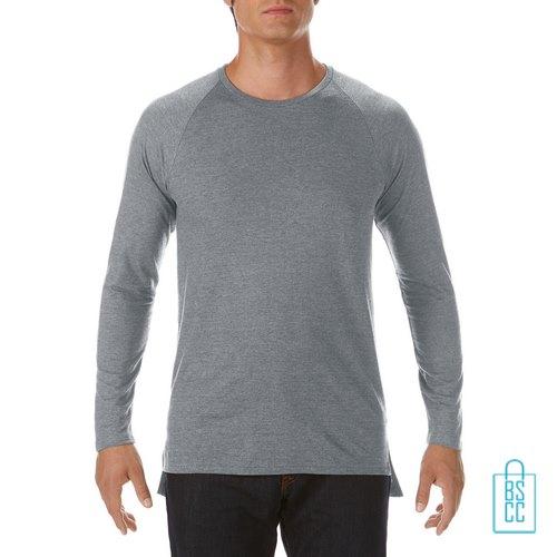 Longsleeve Heren basic bedrukken grijs, longsleeve bedrukt, bedrukte longsleeve met logo