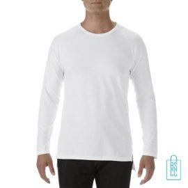 Longsleeve Heren basic bedrukken wit, longsleeve bedrukt, bedrukte longsleeve met logo