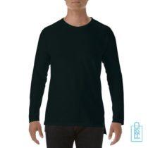 Longsleeve Heren basic bedrukken zwart, longsleeve bedrukt, bedrukte longsleeve met logo