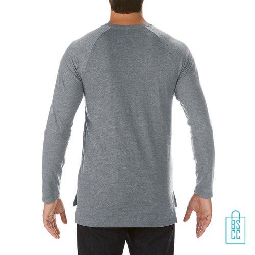 Longsleeve Heren basic bedrukt grijs, longsleeve bedrukt, bedrukte longsleeve met logo