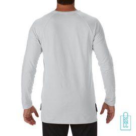 Longsleeve Heren basic bedrukt lichtgrijs, longsleeve bedrukt, bedrukte longsleeve met logo