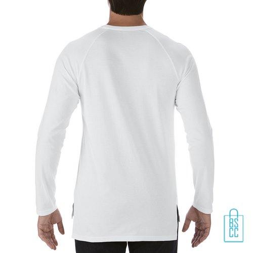 Longsleeve Heren basic bedrukt wit, longsleeve bedrukt, bedrukte longsleeve met logo