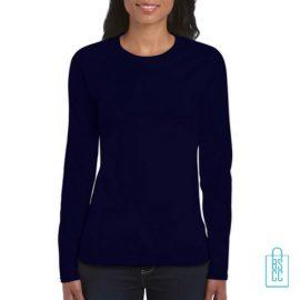 Longsleeve dames rond bedrukken donkerblauw, longsleeve bedrukt, bedrukte longsleeve met logo