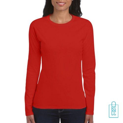 Longsleeve dames rond bedrukken rood, longsleeve bedrukt, bedrukte longsleeve met logo