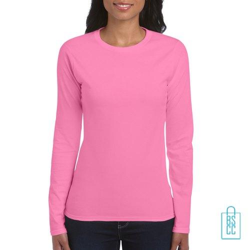 Longsleeve dames rond bedrukken roze, longsleeve bedrukt, bedrukte longsleeve met logo