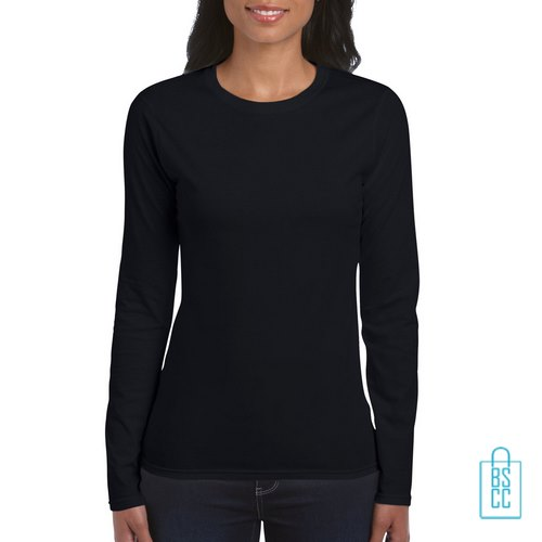 Longsleeve dames rond bedrukken zwart, longsleeve bedrukt, bedrukte longsleeve met logo