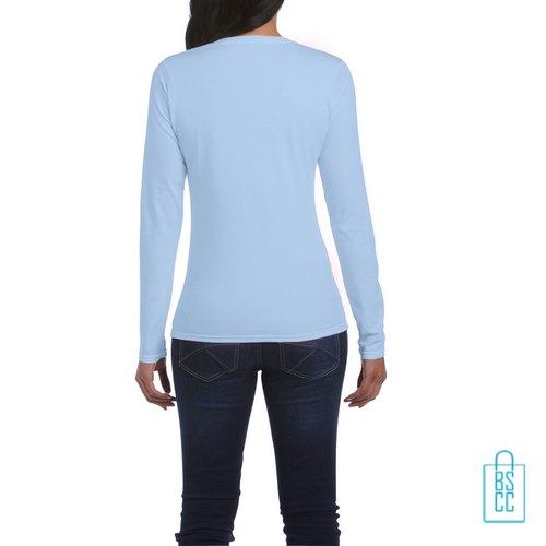 Longsleeve dames rond bedrukt blauw, longsleeve bedrukt, bedrukte longsleeve met logo