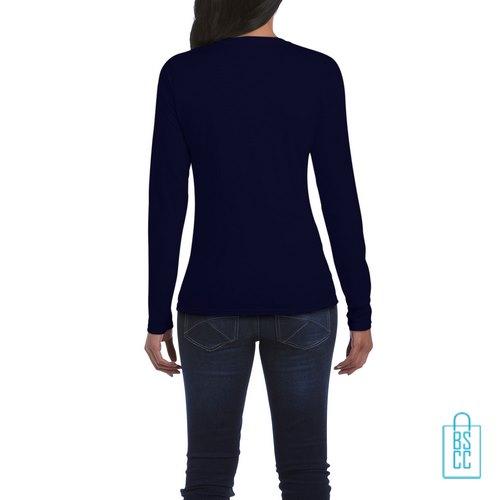 Longsleeve dames rond bedrukt donkerblauw, longsleeve bedrukt, bedrukte longsleeve met logo