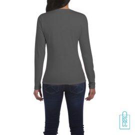 Longsleeve dames rond bedrukt grijs, longsleeve bedrukt, bedrukte longsleeve met logo