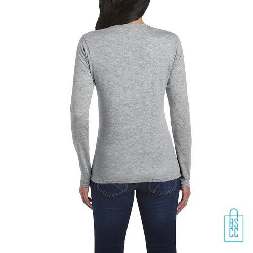 Longsleeve dames rond bedrukt lichtgrijs, longsleeve bedrukt, bedrukte longsleeve met logo