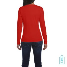 Longsleeve dames rond bedrukt rood, longsleeve bedrukt, bedrukte longsleeve met logo