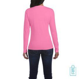 Longsleeve dames rond bedrukt roze, longsleeve bedrukt, bedrukte longsleeve met logo