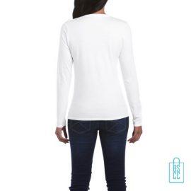 Longsleeve dames rond bedrukt wit, longsleeve bedrukt, bedrukte longsleeve met logo
