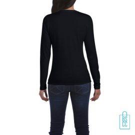 Longsleeve dames rond bedrukt zwart, longsleeve bedrukt, bedrukte longsleeve met logo