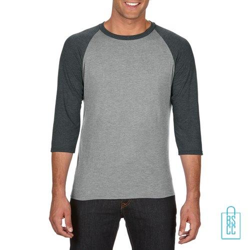 Longsleeve heren duo bedrukken grijs grijs, longsleeve bedrukt, bedrukte longsleeve met logo