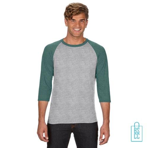 Longsleeve heren duo bedrukken grijs groene, longsleeve bedrukt, bedrukte longsleeve met logo