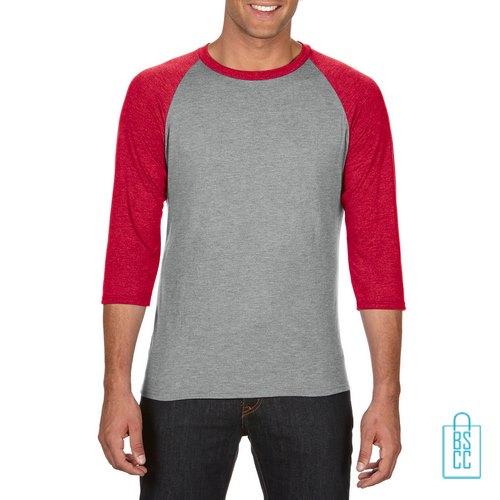 Longsleeve heren duo bedrukken grijs rood, longsleeve bedrukt, bedrukte longsleeve met logo