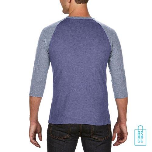 Longsleeve heren duo bedrukt blauw grijs, longsleeve bedrukt, bedrukte longsleeve met logo
