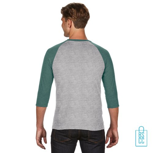 Longsleeve heren duo bedrukt grijs groen, longsleeve bedrukt, bedrukte longsleeve met logo