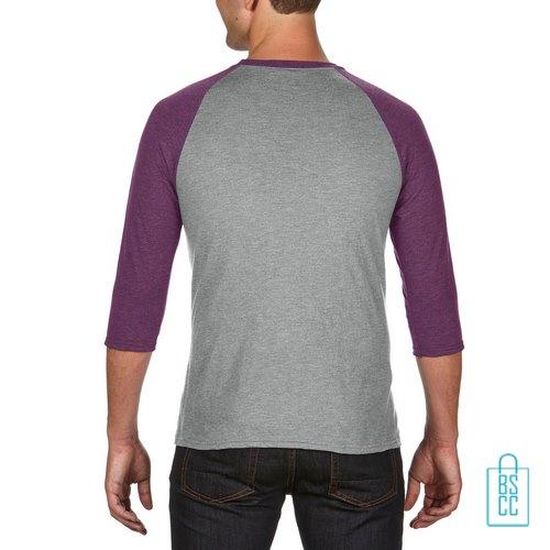 Longsleeve heren duo bedrukt grijs paars, longsleeve bedrukt, bedrukte longsleeve met logo