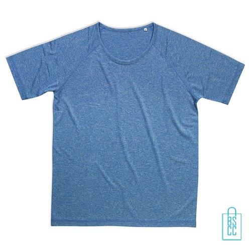 Sport-Shirt Heren Active Dry bedrukken blauw