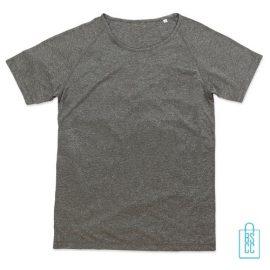Sport-Shirt Heren Active Dry bedrukken lichtgrijs