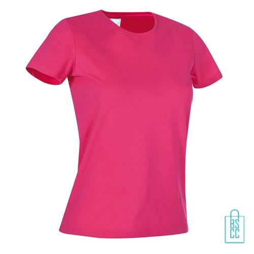T-Shirt Dames Jersey bedrukken donkerroze