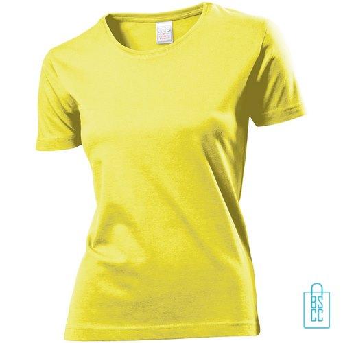 T-Shirt Dames Jersey bedrukken geel