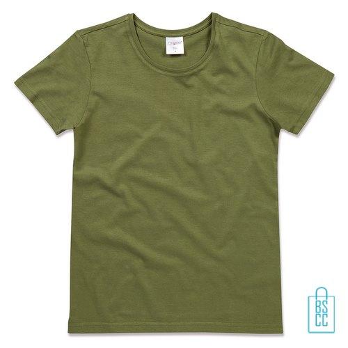 T-Shirt Dames Jersey bedrukken militairgroen