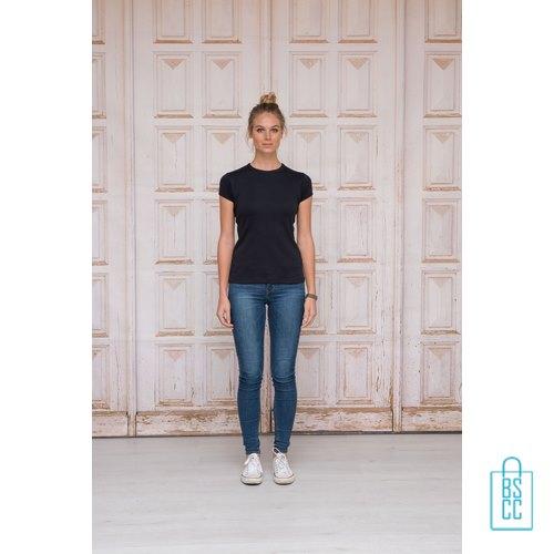 T-Shirt Dames Katoen bedrukken slim-fit