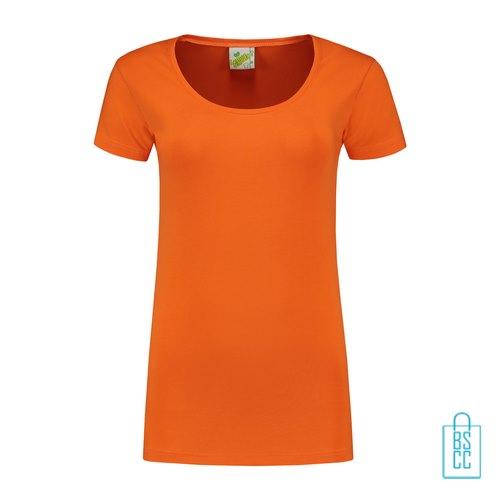 T-Shirt Dames Lang bedrukken oranje