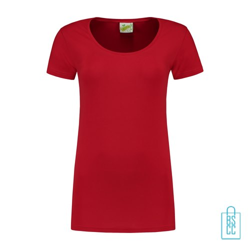 T-Shirt Dames Lang bedrukken rood