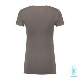 T-Shirt Dames Lang bedrukt grijs