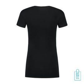 T-Shirt Dames Lang bedrukt zwart