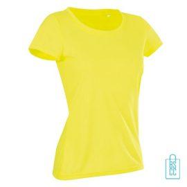 T-Shirt Dames Sport Katoen bedrukken neongeel