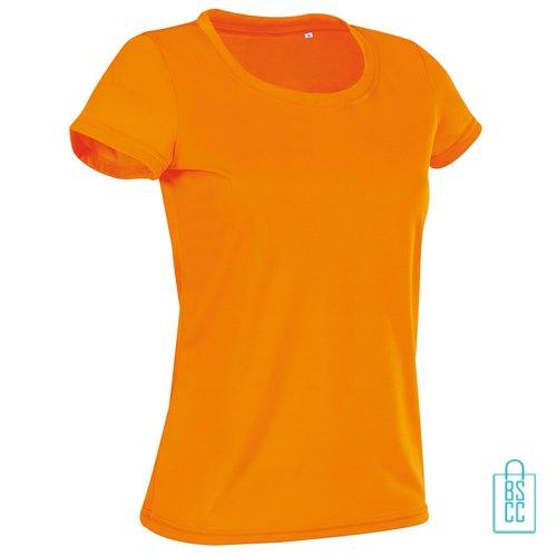 T-Shirt Dames Sport Katoen bedrukken neonoranje
