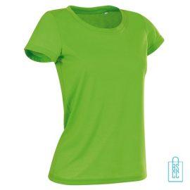 T-Shirt Dames Sport Katoen bedrukt neongroen