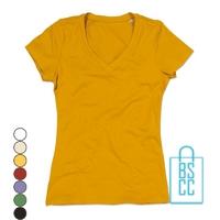 T-Shirt Dames V-Hals Biologisch bedrukken, v-hals bedrukt, bedrukte v-hals met logo