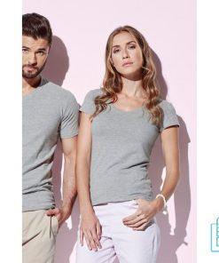T-Shirt Dames V-Hals Cotton bedrukken goedkoop, v-hals bedrukt, bedrukte v-hals met logo