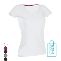 T-Shirt Dames V-Hals Cotton bedrukken, v-hals bedrukt, bedrukte v-hals met logo