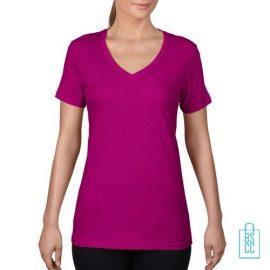 T-Shirt Dames V-Hals Goedkoop bedrukken fuschia, v-hals bedrukt, bedrukte v-hals met logo