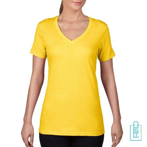 T-Shirt Dames V-Hals Goedkoop bedrukken geel, v-hals bedrukt, bedrukte v-hals met logo